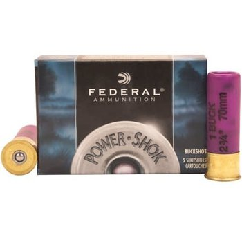 "Federal Federal Power-Shok 16Ga. 2-3/4"" #1 Buck 12Pellets 5rds Box"