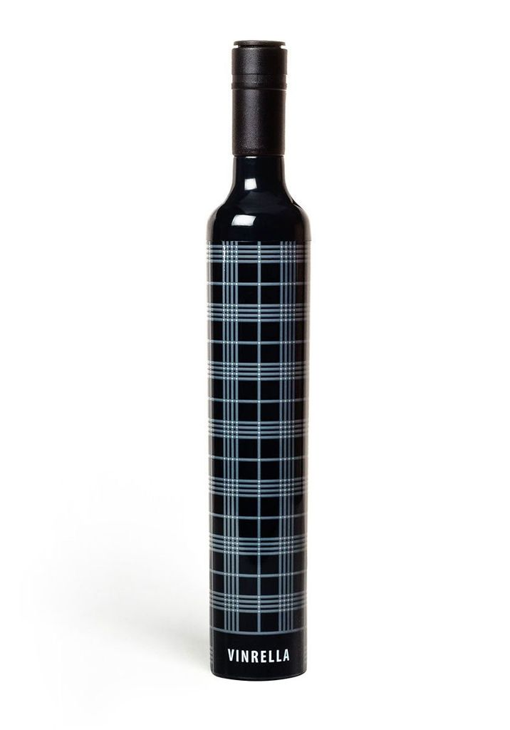 Vinrella Wine Bottle Umbrella - Black Plaid
