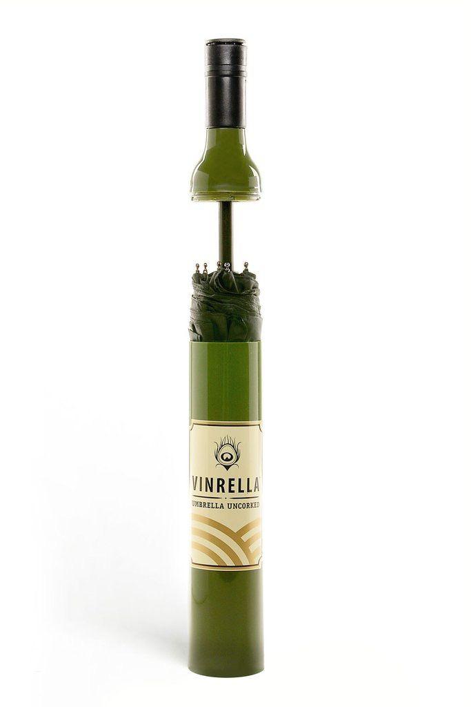 Vinrella Wine Bottle Umbrella - Green with Faux Wine Label