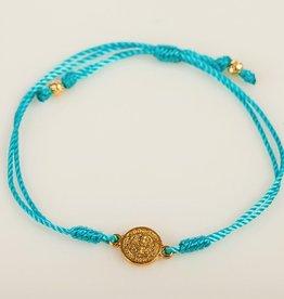My Saint My Hero - Breathe Blessing  Bracelet - Gold Medal - Turquoise