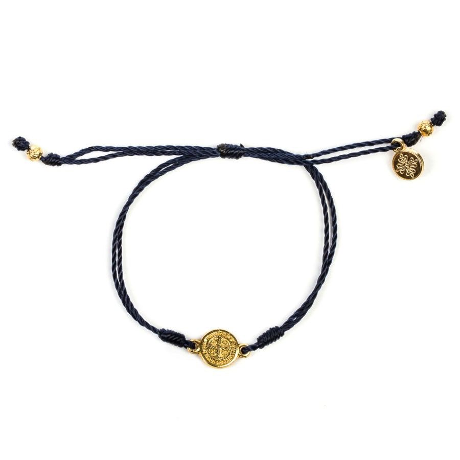 My Saint My Hero - Breathe Blessing Bracelet - Gold Medal -Navy