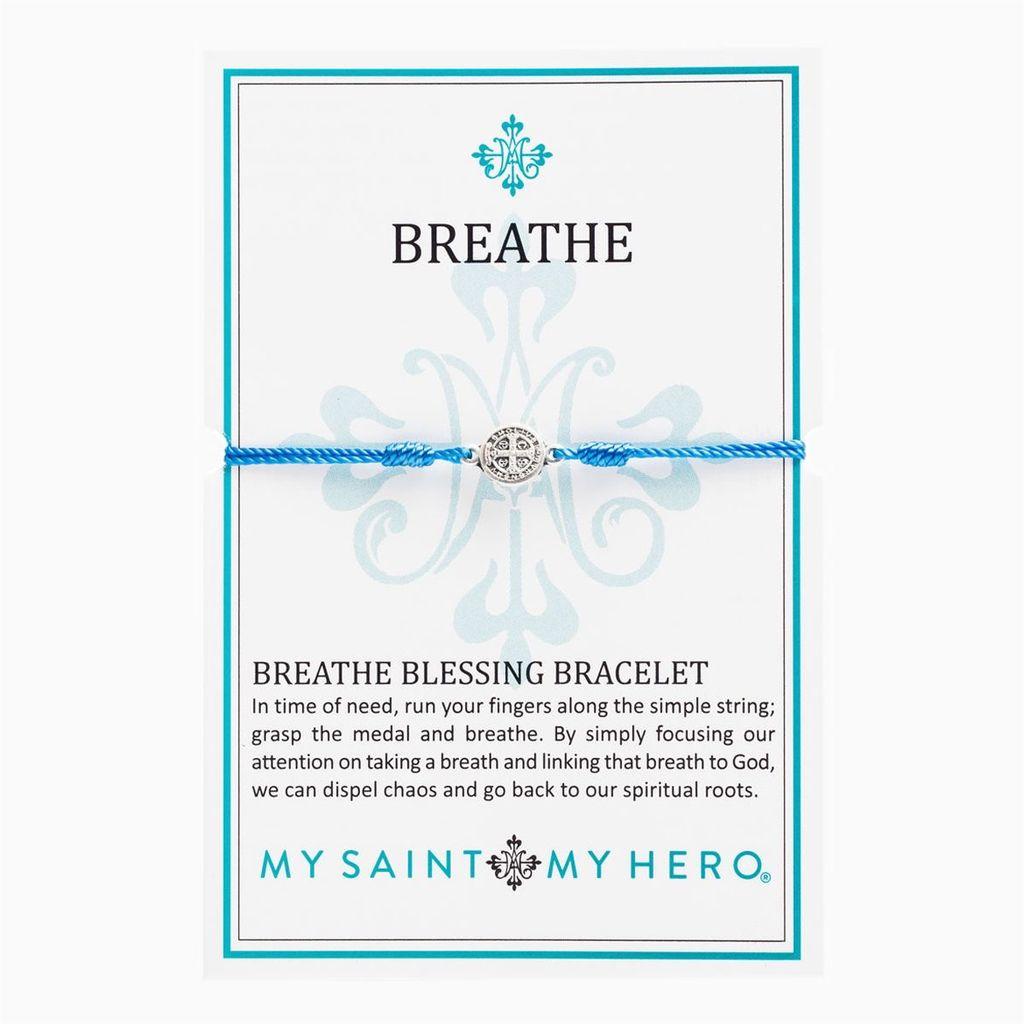 My Saint My Hero - Breathe Blessing Bracelet - Silver Medal - Blue