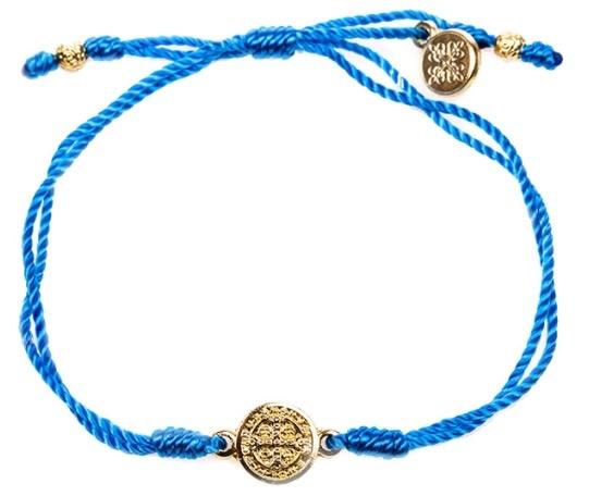 My Saint My Hero - Breathe Blessing Bracelet - Gold Medal - Blue