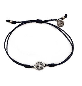My Saint My Hero Breathe Bracelet - Silver Metal - Black