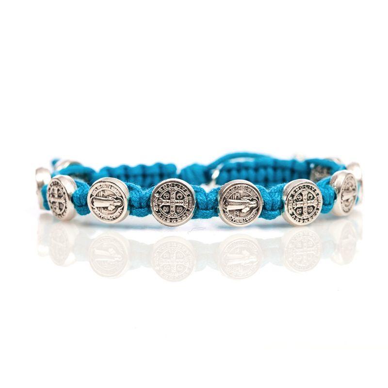 Benedictine Blessing Bracelet - Silver Medal - Turquoise