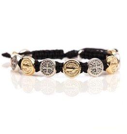 Benedictine Blessing Bracelet - Gold & Silver Medals - Brownbbl