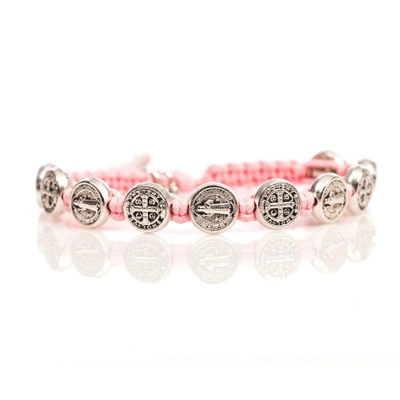 Benedictine Blessing Bracelet - Silver Medal - Pink