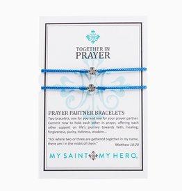 My Saint My Hero - Prayer Partner Bracelets - Blue/Silver