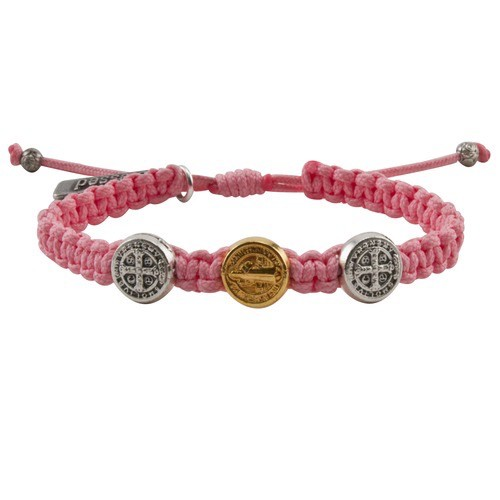 My Saint My Hero - Blessing for Kids Benedictine Blessing Bracelet - Gold & Silver - Pink