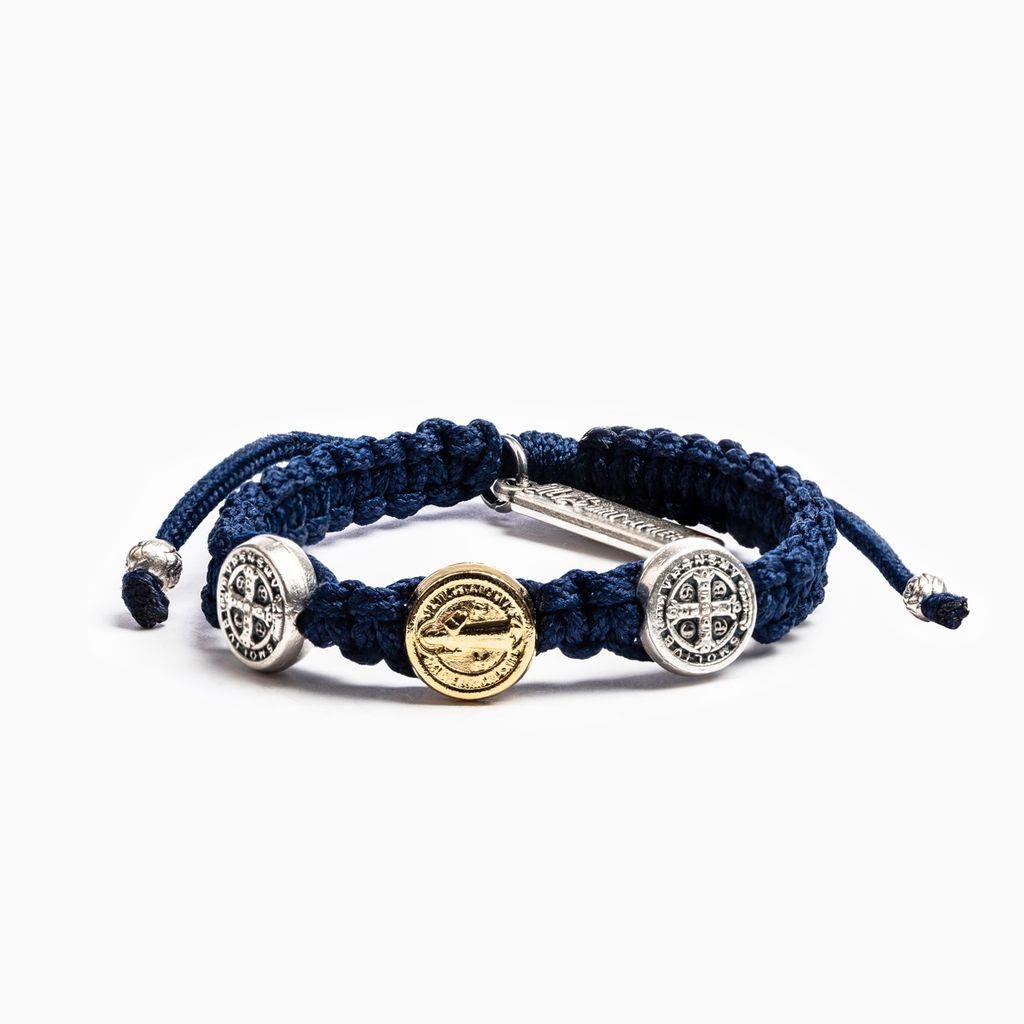 My Saint My Hero - Blessing for Kids Benedictine Blessing Bracelet - Gold & Silver - Navy