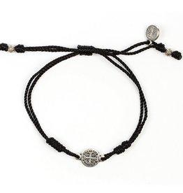 My Saint My Hero - Breathe Blessing Bracelet - Silver Medal - Black