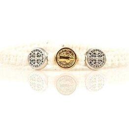 My Saint My Hero - Blessing for Kids Benedictine Blessing Bracelet - Silver & Gold - White