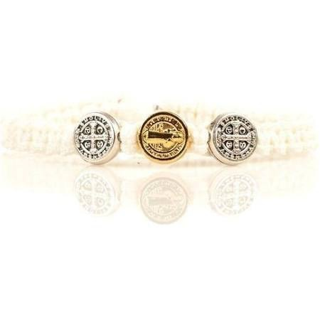 My Saint My Hero - Blessing for Kids Benedictine Blessing Bracelet - Silver & Gold - White