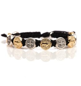 Benedictine Blessing Bracelet - Gold & Silver Medals - Black