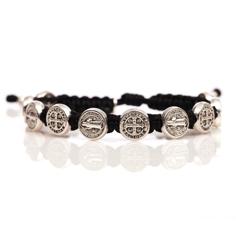 Benedictine Blessing Bracelet - Silver Medal - Black