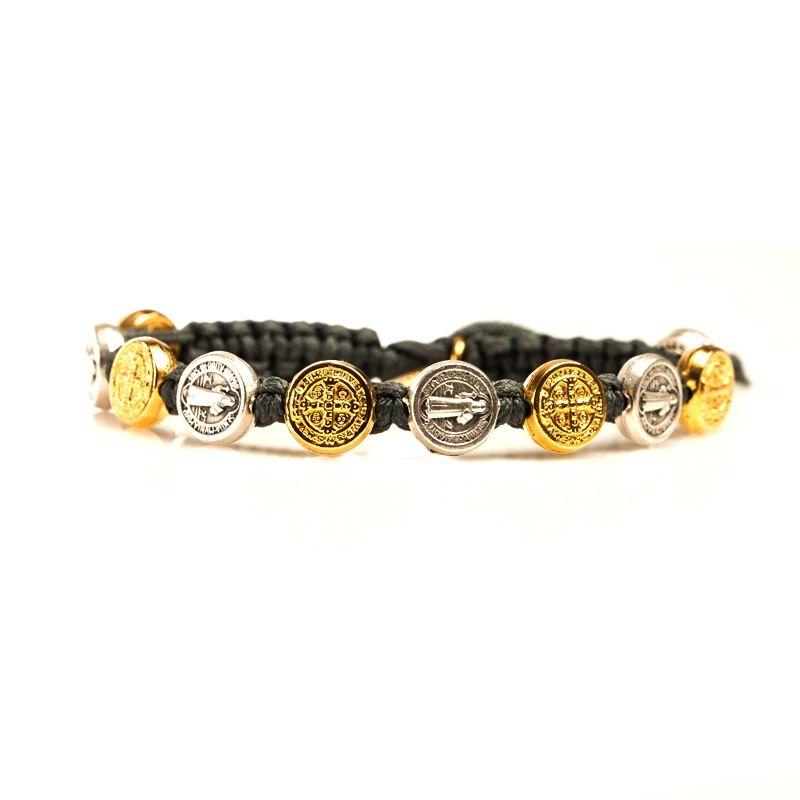 Benedictine Blessing Bracelet - Gold & Silver Medals - Slate