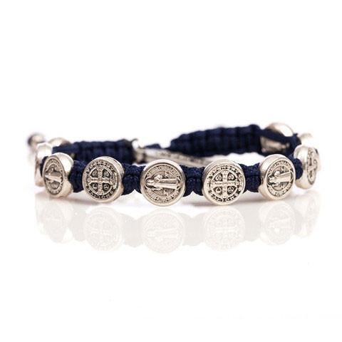 Benedictine Blessing Bracelet - Gold Medals - Navy