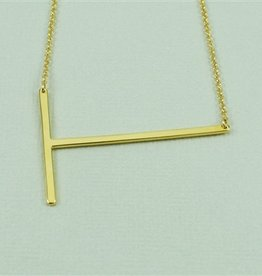 Cool and Interesting - Gold Plated Large Sideways Initial Necklace - T