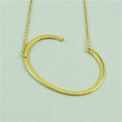 Cool and Interesting - Gold Plated Large Sideways Initial Necklace - C