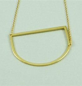 Cool and Interesting - Gold Plated Large Sideways Initial Necklace - D