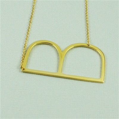 Cool and Interesting - Gold Plated Large Sideways Initial Necklace - B