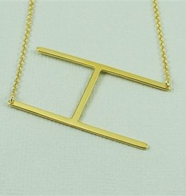 Cool and Interesting - Gold Plated Large Sideways Initial Necklace - H