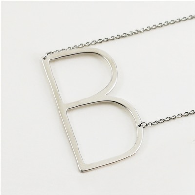Cool and Interesting - Silver Plated Large Sideways Initial Necklace - B