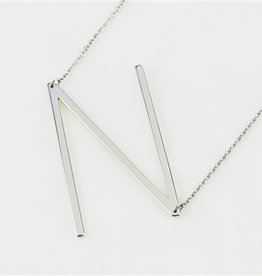 Cool and Interesting - Silver Plated Large Sideways Initial Necklace - N