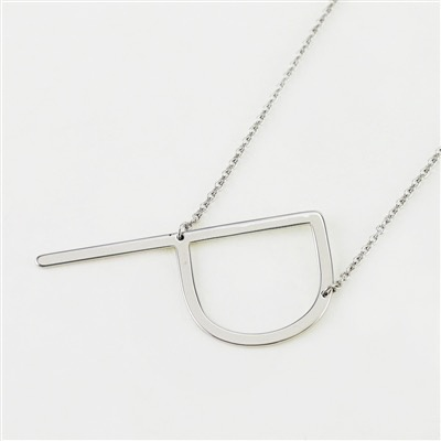 Cool and Interesting - Silver Plated Large Sideways Initial Necklace - P