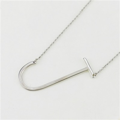 Cool and Interesting - Silver Plated Large Sideways Initial Necklace - J