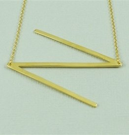 Cool and Interesting - Gold Plated Large Sideways Initial Necklace - N
