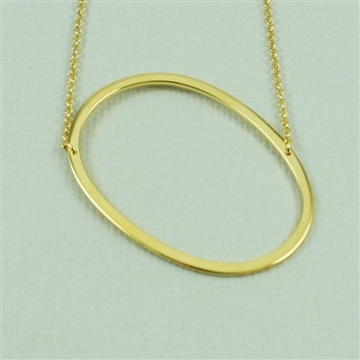 Cool and Interesting - Gold Plated Large Sideways Initial Necklace - O