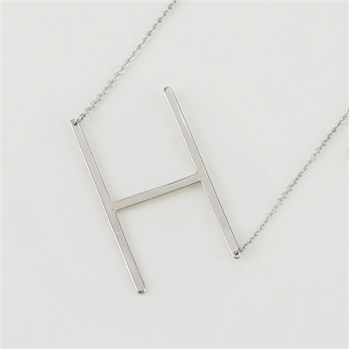 Cool and Interesting - Silver Plated Large Sideways Initial Necklace - H