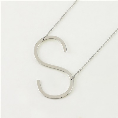 Cool and Interesting - Silver Plated Large Sideways Initial Necklace - S