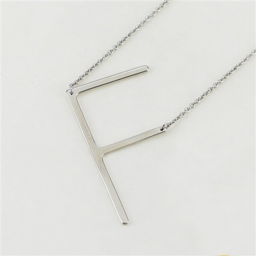 Cool and Interesting - Silver Plated Large Sideways Initial Necklace - F