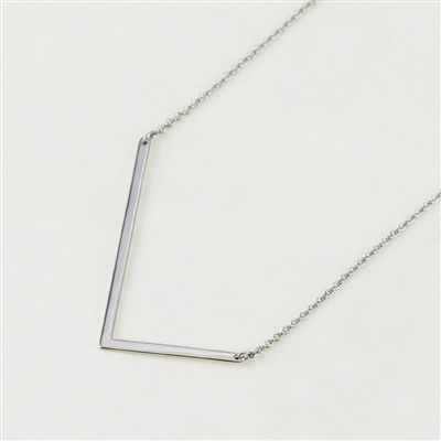 Cool and Interesting - Silver Plated Large Sideways Initial Necklace - L