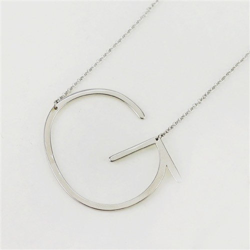 Cool and Interesting - Silver Plated Large Sideways Initial Necklace - G