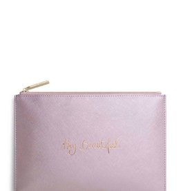 Katie Loxton The Perfect Pouch - Hey Beautiful - Metallic Pink