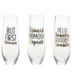 Mud Pie Hello Bubbles Champagne Glass