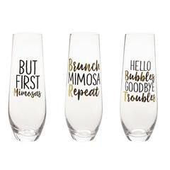 Mud Pie Repeat Champagne Glass