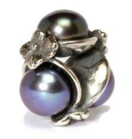 TROLLBEADS - Triple Pearl Bead, Black