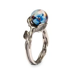 Trollbeads Blue Flower Ring, size 6 1/2