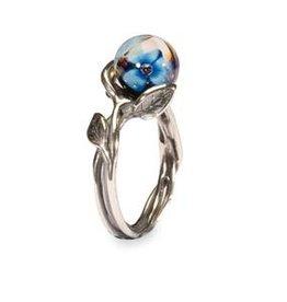 Trollbeads Blue Flower Ring, size 6 1/2