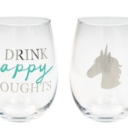 About Face Designs: Drink Happy Wine Glass Set