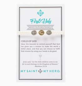 My Saint My Hero - First Holy Communion - Silver/Gold Medal - White