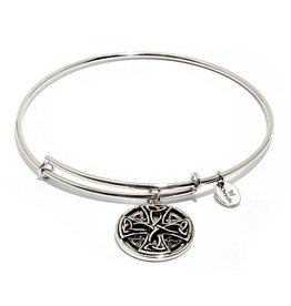 Talisman Collection - Celtic Cross Expandable Bangle -  Standard Size -Silver