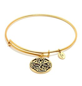 Talisman Collection - Celtic Cross Expandable Bangle -  Standard Size -Gold