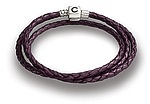 Chamilia 20.7 Plum Braided Leather Wrap Bracelet