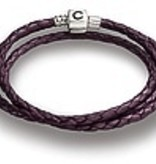 22.2 Plum Braided Leather Wrap Bracelet