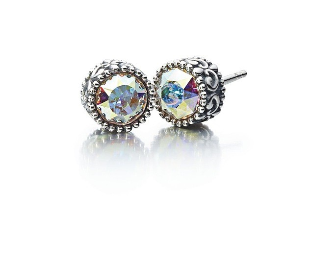 Chamilia Sterling Silver W Stone Princess Stud Earrings Swarovski Ab Crystal